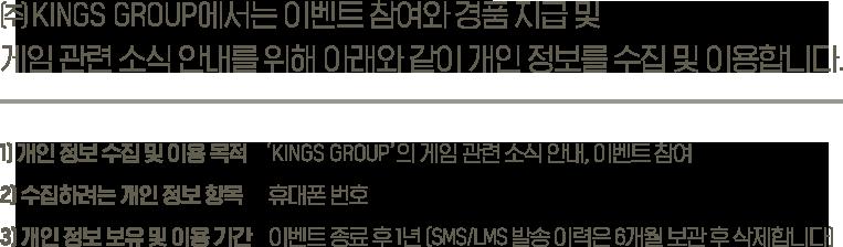 (주)FUNPLUS에서는 이벤트 참여와 경품 지급 및 게임 관련 소식 안내를 위해 아래와 같이 개인정보를 수집 및 이용합니다. 1) 개인 정보 수집 및 이용 목적-'FUNPLUS'의 게임 관련 소식 안내, 이벤트 참여 2)수집하려는 개인 정보 항목-휴대폰 번호 3)개인 정보 보유 및 이용기간-이벤트 종료 후 1년(SMS/LMS 발송 이력은 6개월 보관 후 삭제 합니다)